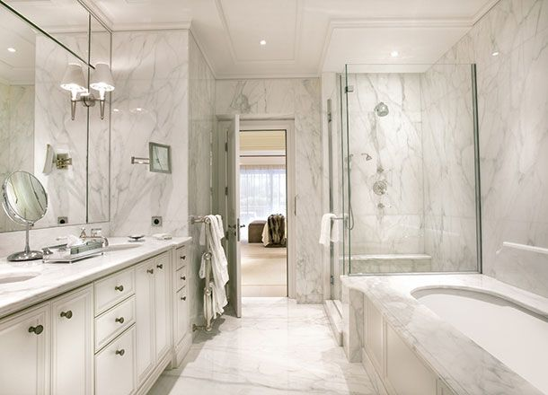 Interesting Luxury Master Bathroom Remodeling Ideas White Marble White Bathtub Home