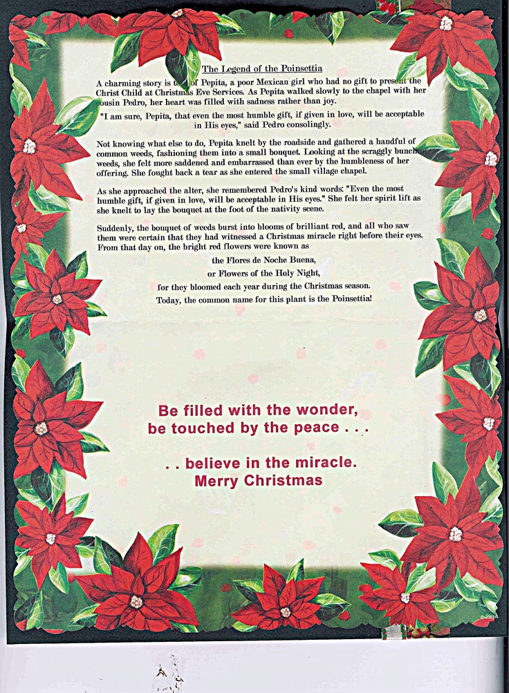 Canny image within the legend of the poinsettia printable story