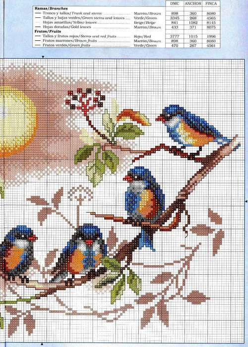 Вышивка крестом птицы на цветах 769