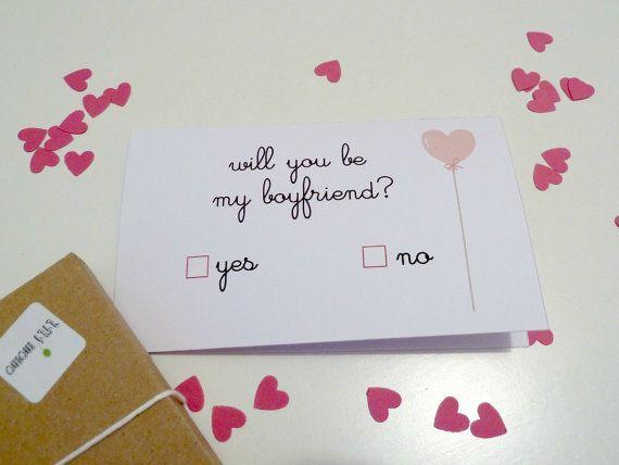 Valentine CARD Will you be my boyfriend Happy by LiliMomo     3 00Will You Be My Boyfriend