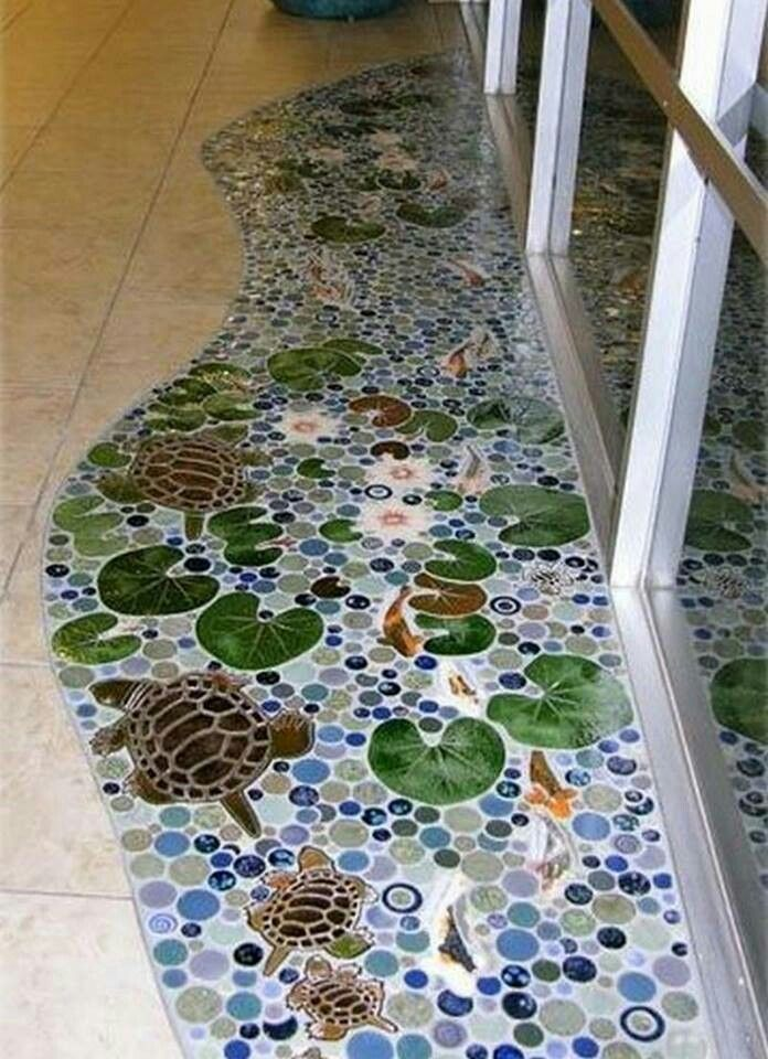 Mosaic art floor pond Creative ideas Pinterest