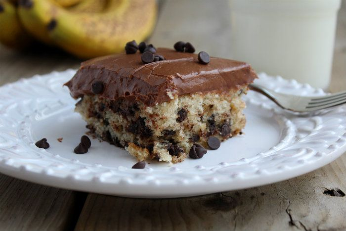 Chocolate chip banana cake with cream cheese frosting. | Recipes ...