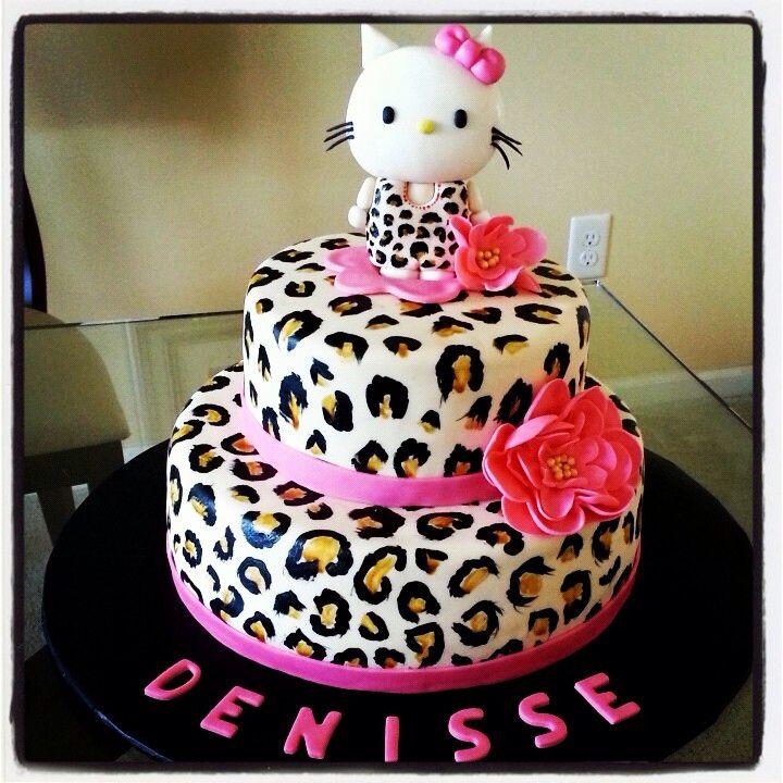 Hello Kitty Cheetah Print Cake  Cake Decorating  Pinterest