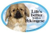 Pekingese Oval Dog Magnet for Cars  From Prismatix
