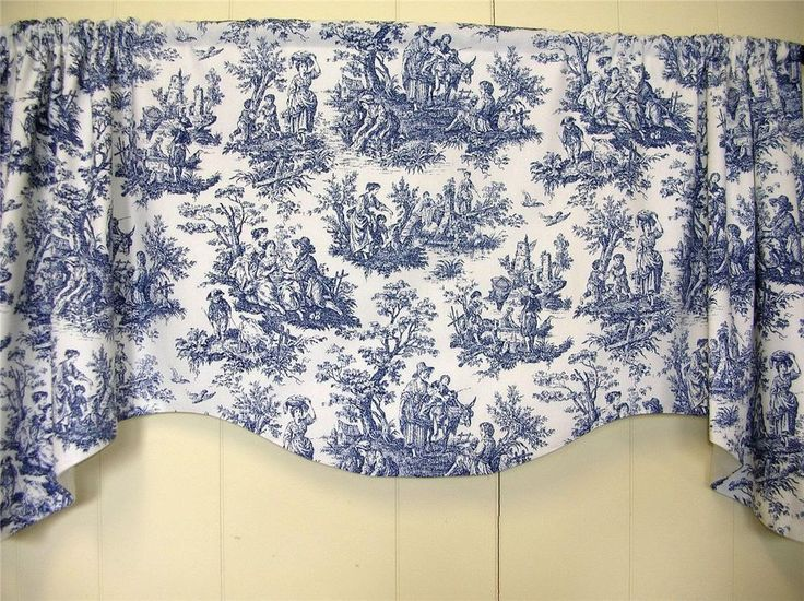 ... Cottage~Waverly Rustic French Toile~NAVY~WHITE~Valance~Curtain