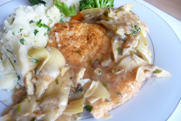 ... with artichokes in a deliciuosly rich lemon, wine and butter sauce