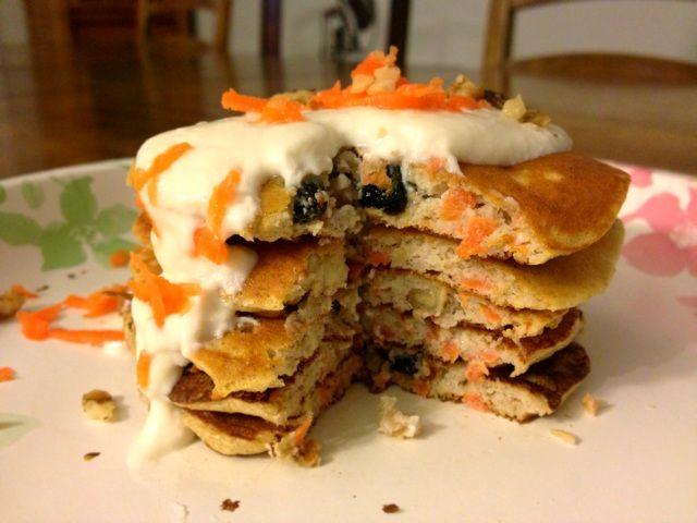 Carrot Cake Protein Pancakes - Travel Eat Bake