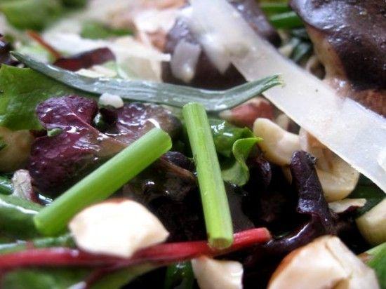Warm Wild Mushroom Salad with Soft Herbs, Pecorino, and Hazelnuts