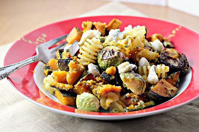 Recipe: Pasta with Sage-Walnut Pesto, Winter Squash and Brussels ...