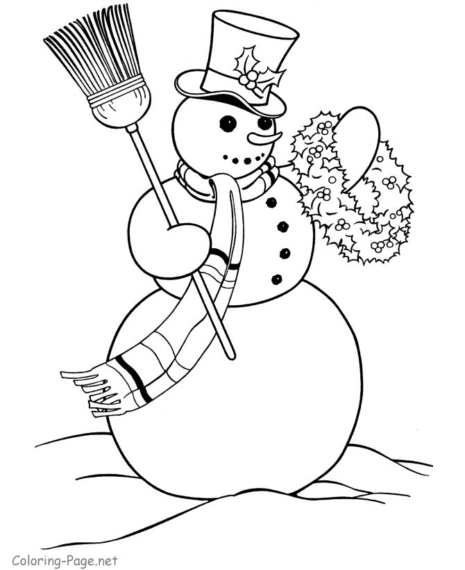 Christmas coloring book page snowman theme christmas pinterest