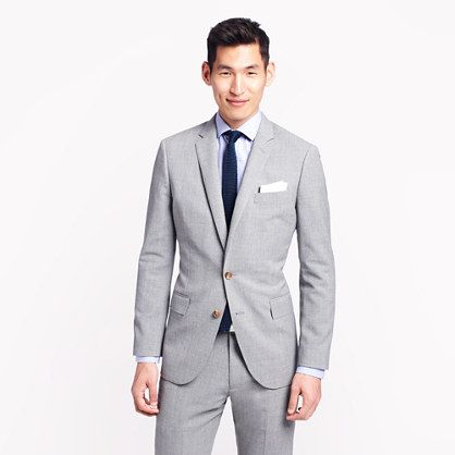 J B Ludlow Ludlow suit jacket with center vent in light charcoal Italian worsted ...