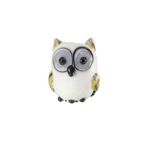 Lampwork Owl Bead, White, 14x16mm | Auntie's Beads