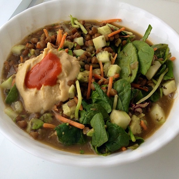 Lentil soup with avocado, cucumber, spinach, carrot & broccoli slaw ...