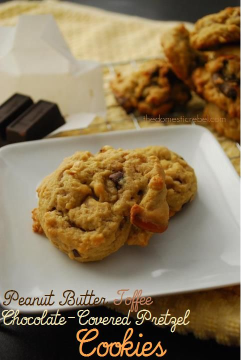 Peanut Butter Toffee Chocolate-Covered Pretzel Cookies