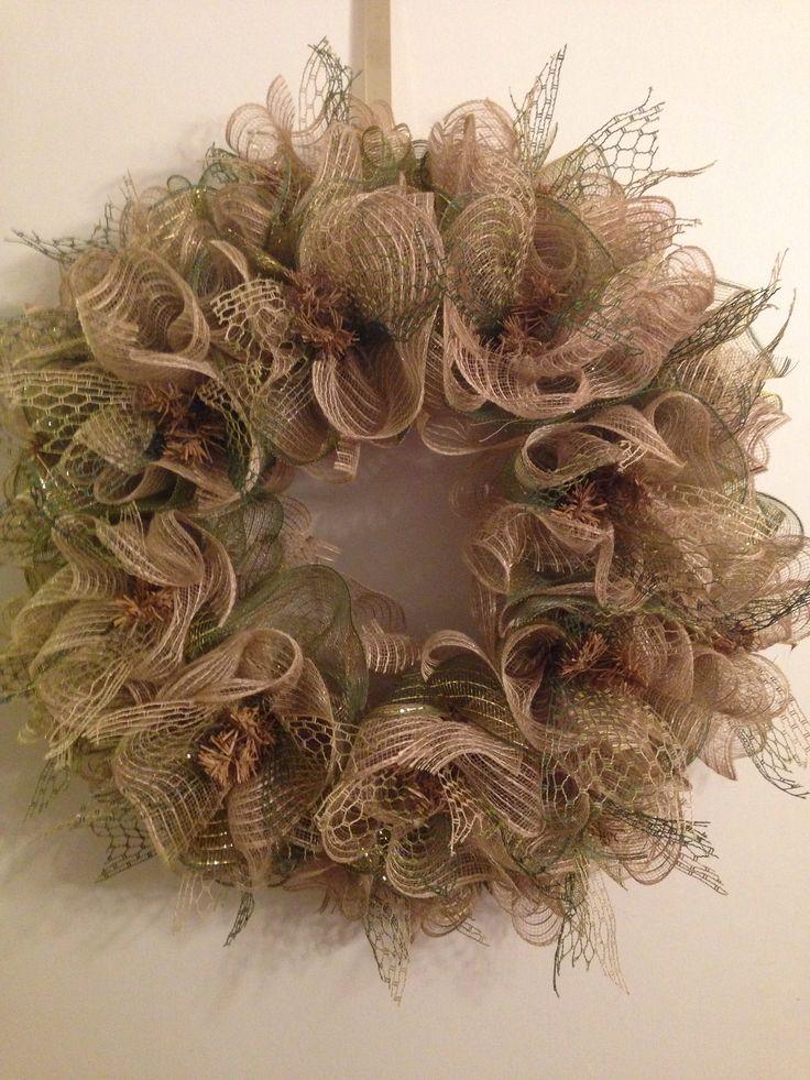 Ruffle deco mesh wreath.  Dress Up The Doors  Pinterest