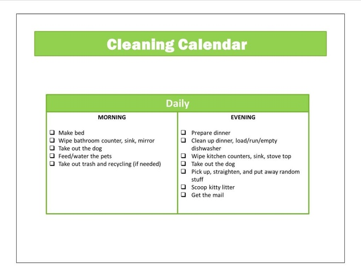 Daily / Biweekly / Monthly Cleaning Calendars