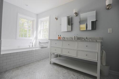 Simple Tile Wainscoting Dark Vanity Gray Paint Bathroom Color Bathroom