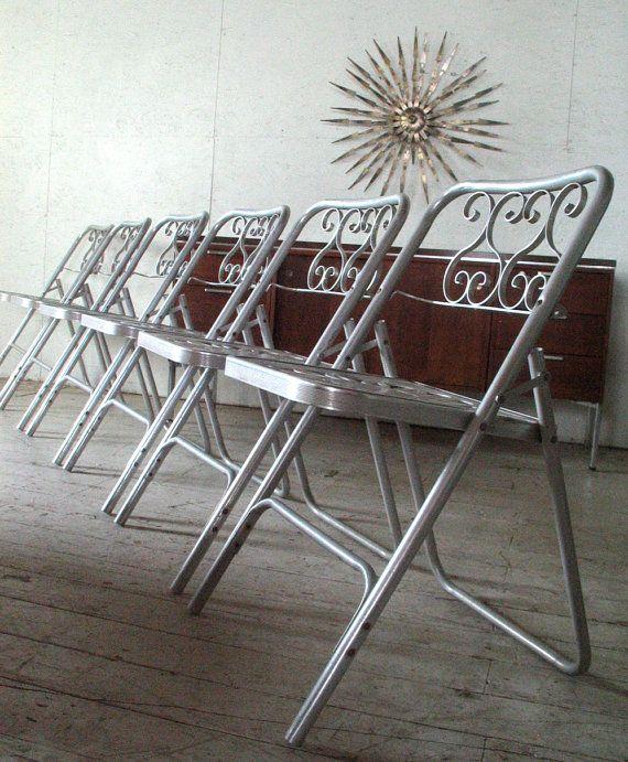 1960s Patio Furniture Set 6 Mid Century Modern Aluminum Outdoor Dinin
