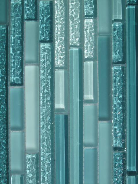 Aqua glass tile backsplash
