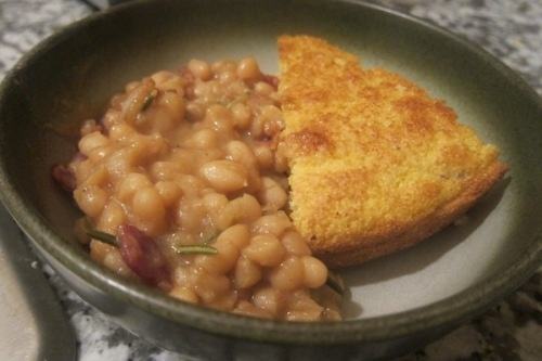Beer baked white beans with skillet cornbread