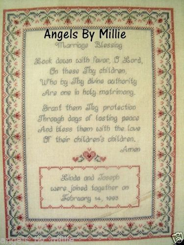 Marriage Blessing Wedding Poem Personalize Mary Scott 2438 Cross Stit