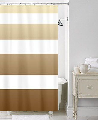 Artistic Chic Shower Curtain Latte Stripe Brown And Beige White