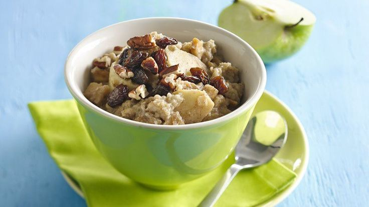 Easy brunch idea using gluten-free oatmeal, apples, almond milk and some stir-ins