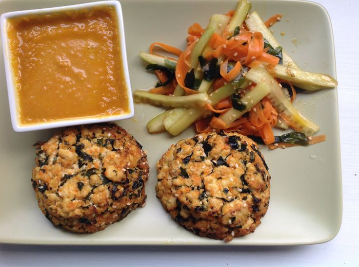 My own take of Tofu Hijiki Burger with ginger-carrot dressing was ...
