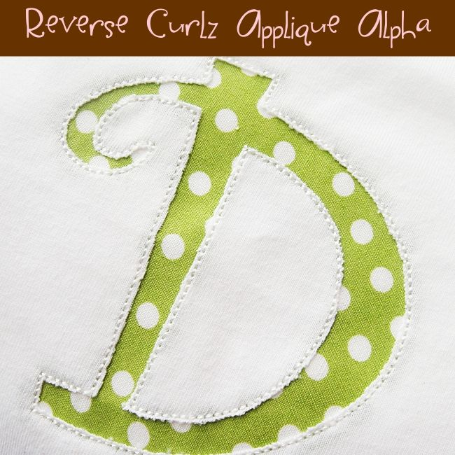 Reverse applique curlz alphabet embroidery designs from