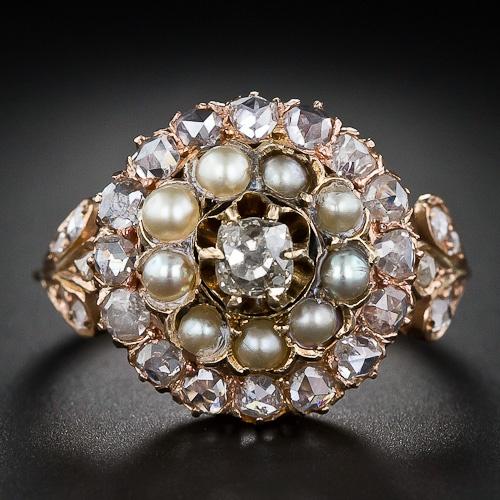 Викторианской алмаз и жемчуг Кольцо кластера