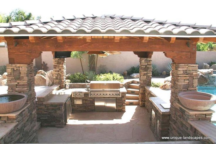 Outdoor kitchens bbq photo gallery outdoor kitchen for Outdoor kitchen ideas with pools