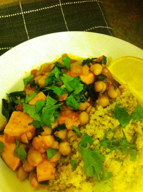 Morrocan Chickpea Sweet Potato Stew with Spinach and Quinoa