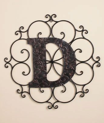 monogrammed letters bronzed looked scrolled metal hanging. Black Bedroom Furniture Sets. Home Design Ideas