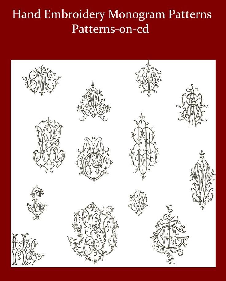 Vintage hand embroidery monogram design patterns for