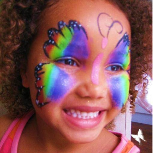 Smiley butterfly! | Face Paint for Girls | Pinterest