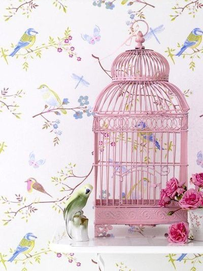 Pretty pink cage with bird wallpaper