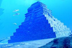 Underwater pyramid at bottom of lake Fusyan, China.