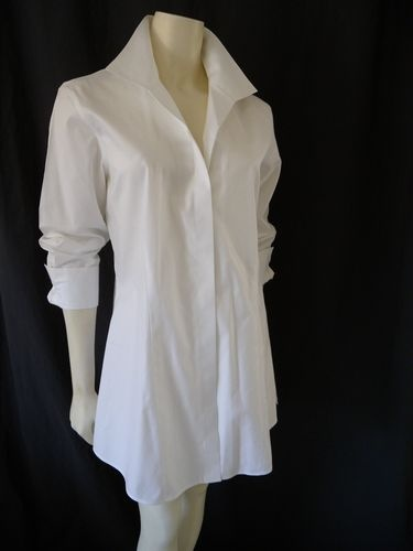 Chico 39 s size 1 effortless cotton helaina white top long for Best no iron shirts