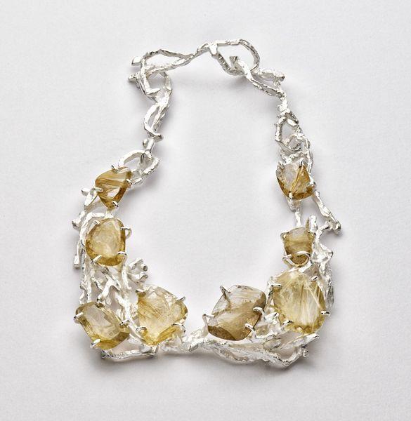Iris Bodemer, Germany, Neckpiece, 2012, silver, rutilated quartz