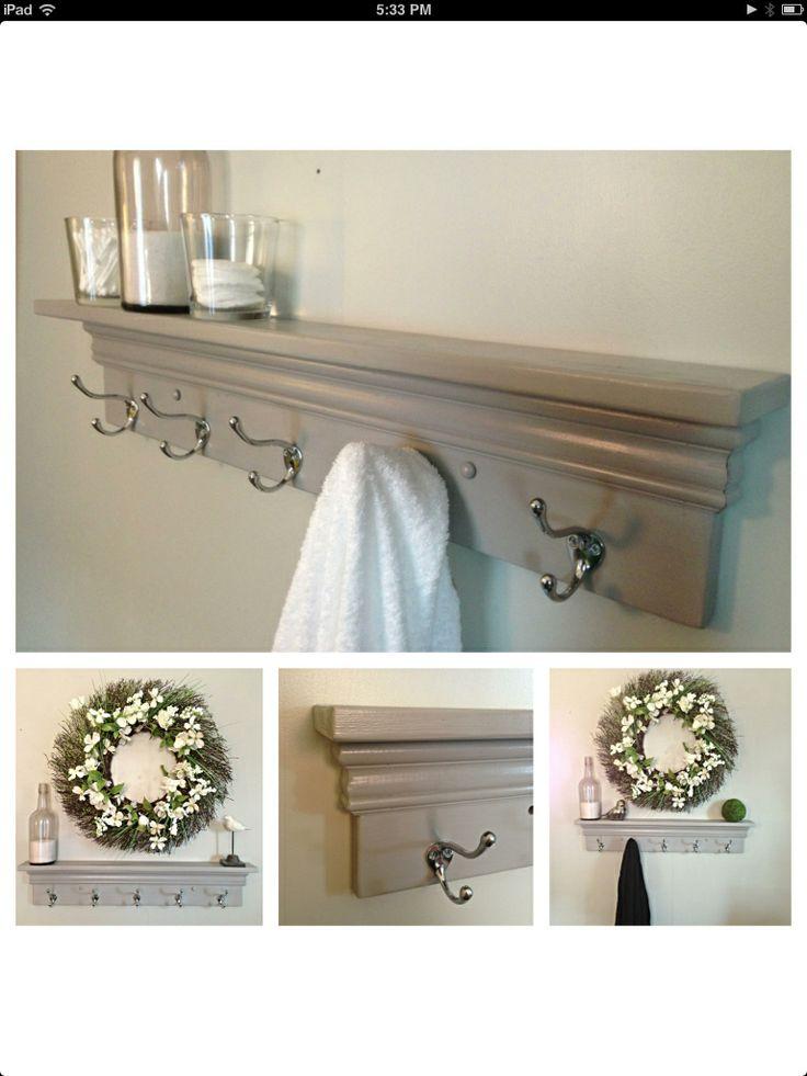 Towel Hooks Coat Rack Decorative Shelf In Light Gray