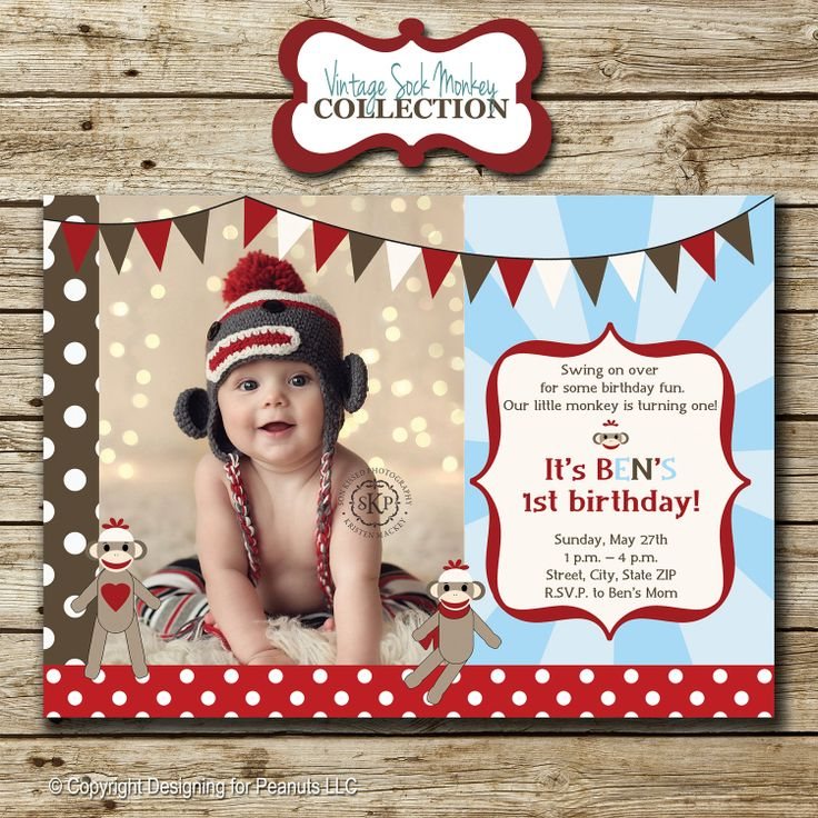 Sock Monkey Birthday Invitations could be nice ideas for your invitation template