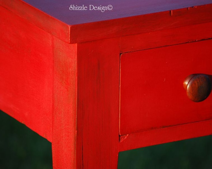 Vintage Table refinished in CeCe Caldwell's New Traverse City Cherry, a beautiful new red added to our paint collection. Available online at: http://alittlebitoshizzle.blogspot.com/p/shop.html.  Also available in my booth at Not So Shabby in Zeeland, MI http://alittlebitoshizzle.blogspot.com/p/contact.html