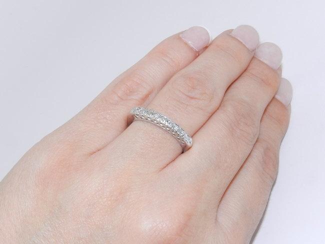 Vintage Antique 14K White Gold Diamond Wedding Anniversary Ring