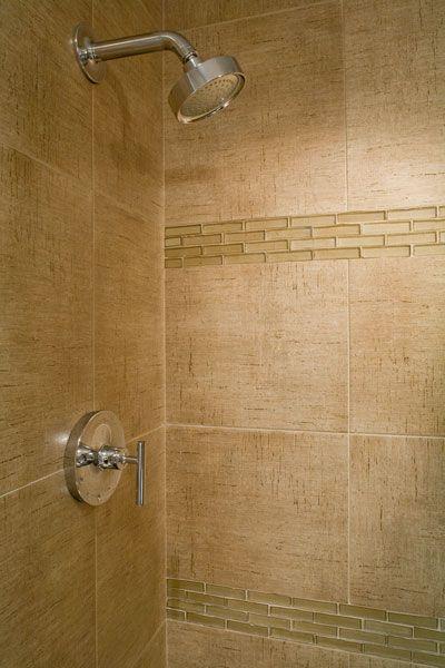 Glass tile border shower power pinterest for Glass tile border bathroom ideas