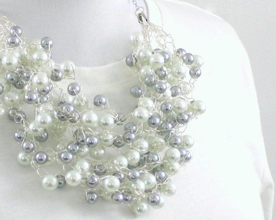 Wire Crochet : wire crochet pearl necklace Crochet and Knitting Pinterest