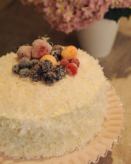 coconut cake with coconut simple syrup and coconut buttercream; Back ...