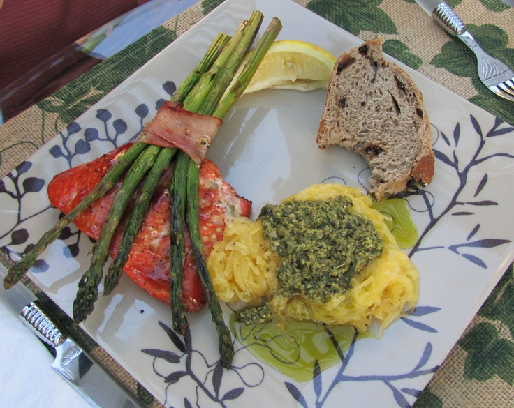 Grilled Salmon and Asparagus with Proscuitto and Spaghetti Squash ...