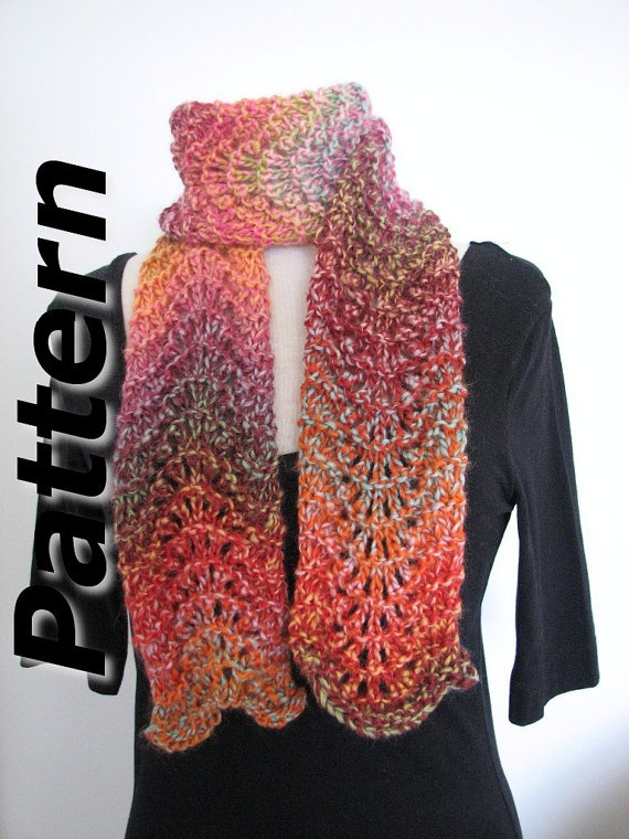Knitted Scarf Patterns With Variegated Yarn : Bulky scarf knitting pattern pdf, Chunky Ripple Lace, easy written in?