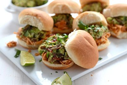 Spicy Pulled Chicken Sliders with Bacon-Queso Guacamole | Recipe