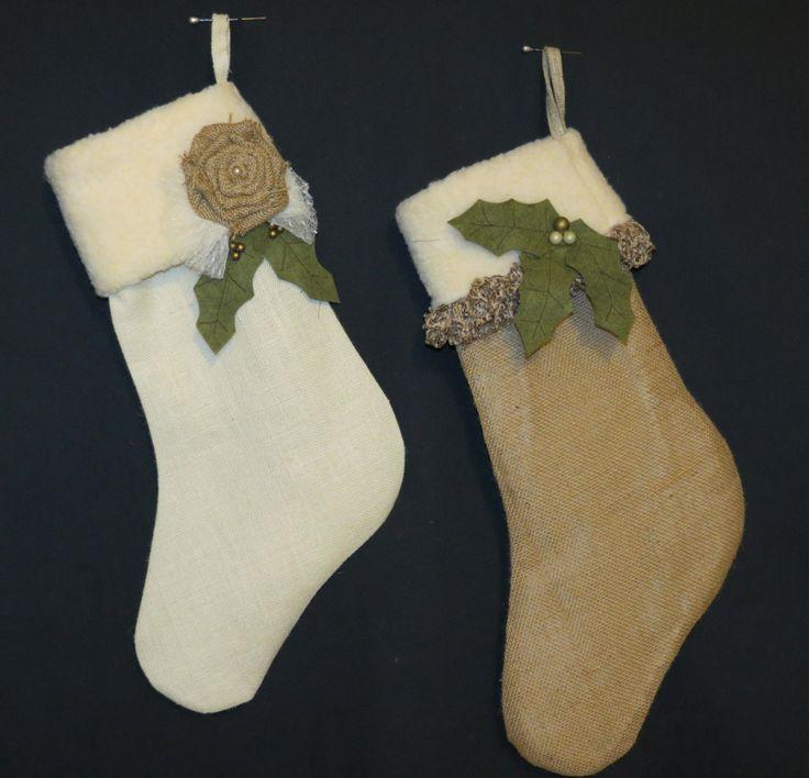 His amp her burlap christmas stockings rustic christmas pinterest
